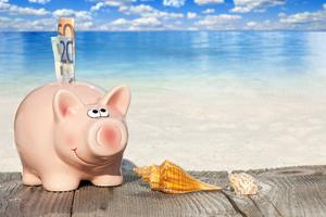 Piggy bank with banknotes, Seashells and Starfish on Wooden Baords at the beach with much Copy Space for additional information