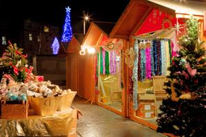 Continental Christmas Market in Eyre Square, Galway, at night time
