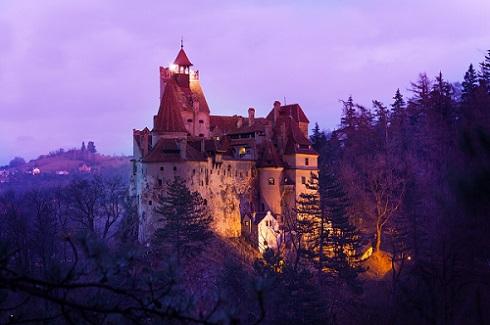 Bran Castle (Dracula castle) in Transylvania and Wallachia at night Romania