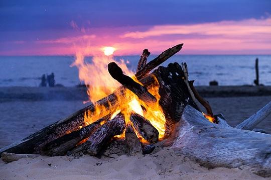 Blazing bonfire on the beach