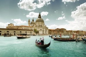 Venice Grand Canal and Basilica gondola