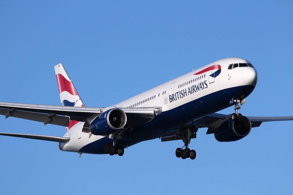 LARNACA, CYPRUS - MAY 17, 2014: British Airways Boeing 767-300ER lands in Larnaca International Airport. British Airways is the flag carrier of the UK and part of Oneworld alliance.
