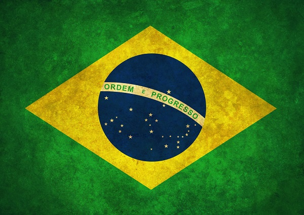 flag of brazil with green background, yellow diamond and blue circle