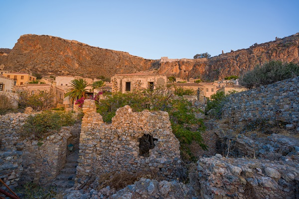 beautiful Byzantine castle town of Monemvasia in Laconia in the sunset